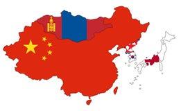 Mappa di Asia Orientale Immagine Stock