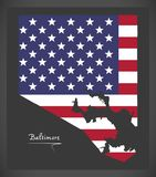 Mappa di Baltimora Maryland con l'illustrazione americana della bandiera nazionale Fotografia Stock Libera da Diritti