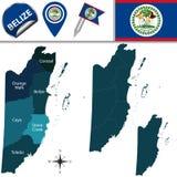 Mappa di Belize Fotografie Stock Libere da Diritti