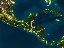 Mappa di Belize alla notte Fotografia Stock