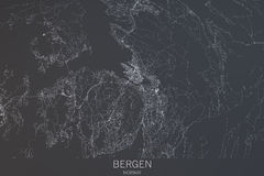 Mappa di Bergen, vista satellite, città, Norvegia royalty illustrazione gratis