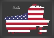 Mappa di California della riva del fiume con il illustratio americano della bandiera nazionale Fotografia Stock Libera da Diritti