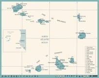 Mappa di Capo Verde - illustrazione dettagliata d'annata di vettore Immagini Stock Libere da Diritti