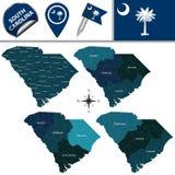 Mappa di Carolina del Sud con le regioni Fotografia Stock