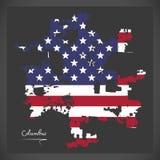 Mappa di Columbus Ohio con l'illustrazione americana della bandiera nazionale Immagine Stock Libera da Diritti