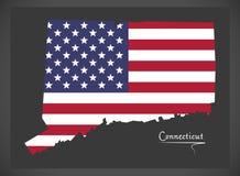 Mappa di Connecticut con l'illustrazione americana della bandiera nazionale Fotografie Stock