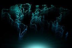 Mappa di contorno blu d'ardore del mondo Immagini Stock Libere da Diritti
