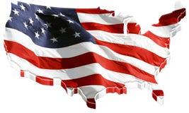 mappa di 3D Stati Uniti e bandiera degli Stati Uniti Fotografia Stock