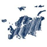 Mappa di Europa Fotografia Stock Libera da Diritti