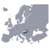Mappa di Europa con l'Ungheria Fotografia Stock Libera da Diritti