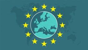 Mappa di Europa con l'Unione Europea Fotografie Stock Libere da Diritti