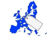 Mappa di Europa con la bandiera e l'etichetta in bianco di vendita rappresentazione 3d Fotografia Stock