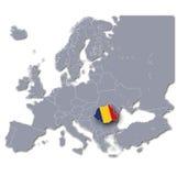 Mappa di Europa con la Romania Fotografia Stock