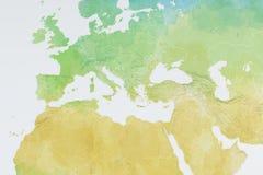 Mappa di Europa, Nord Africa e di Medio Oriente, carta in rilievo Fotografie Stock Libere da Diritti