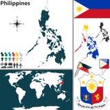 Mappa di Filippine Fotografia Stock Libera da Diritti
