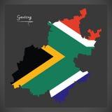 Mappa di Gauteng South Africa con la bandiera nazionale illustrazione di stock