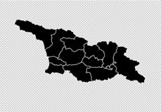 Mappa di Georgia South Ossetia - mappa nera dettagliata di livello con le contee/regioni/stati di Georgia l'Ossezia del Sud Georg illustrazione di stock