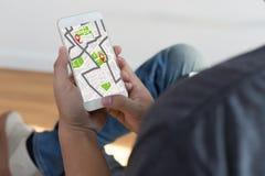 Mappa di GPS alla via di posizione della connessione di rete della destinazione di itinerario immagine stock libera da diritti