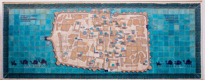 Mappa di Ichon-Qala, in Khiva, l'Uzbekistan fotografia stock libera da diritti
