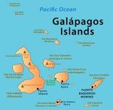 Mappa di isole Galapagos Fotografia Stock Libera da Diritti