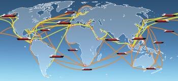 Mappa di itinerari di trasporto del mondo Fotografie Stock Libere da Diritti