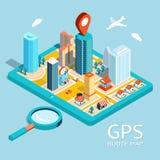 Mappa di itinerario di GPS Navigazione app della città Fotografia Stock
