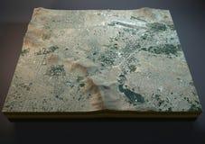 Mappa di Kabul, vista satellite, sezione 3d, Afghanistan, città Fotografia Stock Libera da Diritti