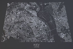 Mappa di Kiev, vista satellite, Ucraina Fotografia Stock