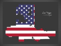 Mappa di Las Vegas Nevada con l'illustrazione americana della bandiera nazionale Immagini Stock