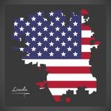 Mappa di Lincoln Nebraska con l'illustrazione americana della bandiera nazionale Fotografie Stock Libere da Diritti