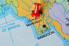 Mappa di Mandalay fotografia stock