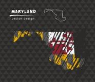 Mappa di Maryland con la bandiera dentro sui precedenti neri Illustrazione di vettore di schizzo del gesso Fotografia Stock Libera da Diritti
