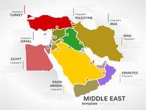 Mappa di Medio Oriente Fotografia Stock Libera da Diritti