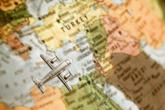 Mappa di Medio Oriente con l'aeroplano Fotografia Stock Libera da Diritti