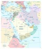 Mappa di Medio Oriente e dell'Asia occidentale Fotografia Stock Libera da Diritti