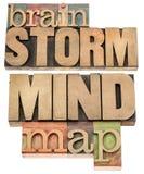 Mappa di mente e di lampo di genio Fotografie Stock