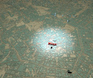 Mappa di Milano del centro, Italia Fotografie Stock