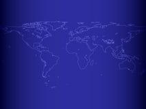 Mappa di mondo al neon Fotografia Stock
