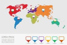 Mappa di mondo, archivio di infographics EPS10 dei puntatori di posizione di geo. Immagini Stock