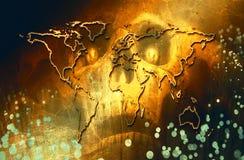 Mappa di mondo artistica astratta su un cranio astratto del fondo di morte illustrazione vettoriale