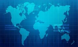 Mappa di mondo astratta nel fondo di progettazione di tecnologia Fotografia Stock