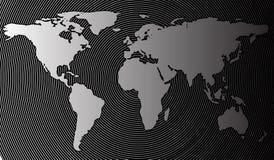 Mappa di mondo astratta su un fondo dei cerchi cilindrici Illustrazione di vettore nel semitono Fotografie Stock Libere da Diritti