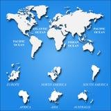 Mappa di mondo bianca in bianco su fondo blu Modello per il sito Web, progettazione, copertura, rapporti annuali, infographi di v Immagine Stock
