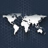 Mappa di mondo bianca, binari di raccordo e punti sul fondo blu di colore Modello di chimica, struttura esagonale della molecola Immagine Stock Libera da Diritti