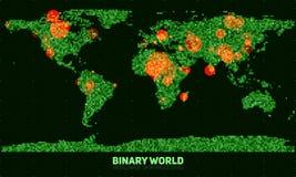 Mappa di mondo binaria astratta di vettore Continenti costruiti dai numeri binari verdi Rete di informazioni globale Fotografie Stock