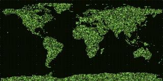 Mappa di mondo binaria astratta di vettore Continenti costruiti dai numeri binari verdi Rete di informazioni globale Immagini Stock Libere da Diritti