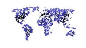 Mappa di mondo blu di colore isolata su fondo bianco con i cerchi Modello piano astratto Concetto globale, illustrazione di vetto Fotografia Stock