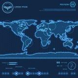Mappa di mondo blu del poligono HUD Screen Fotografia Stock