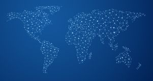 Mappa di mondo blu delle comunicazioni globali illustrazione di stock