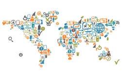 Mappa di mondo composta dalle icone sociali di web Fotografia Stock Libera da Diritti